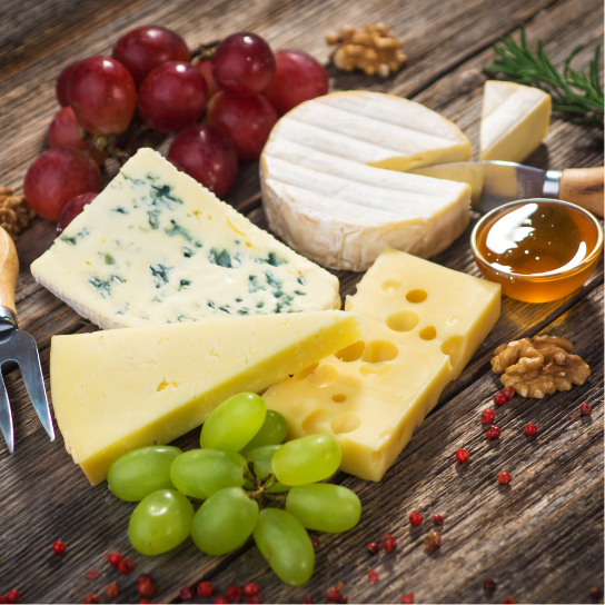 cheeses and grapes